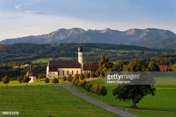 Pilgrimage church of St. Marinus and Anian in Wilparting, Irschenberg, behind Mangfall mountains, Oberland, Upper Bavaria, Bavaria, Germany