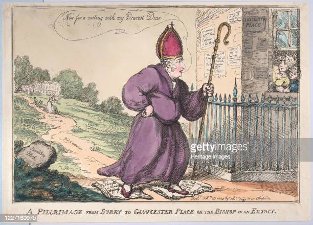 Pilgrimage from Surry to Gloucester Place or the Bishop in an Extacy, February 27, 1809. Artist Thomas Rowlandson.