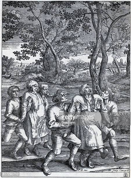 Pilgrimage of the epileptics Two epileptic peasant women are aided in their journey by four men Undated engraving BPA2# 3913