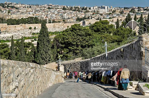 pilgrimage - mount of olives stock pictures, royalty-free photos & images
