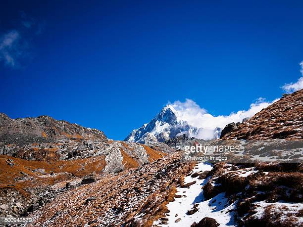 pilgrimage route to khayer lake, nepal himalaya - annapurna conservation area stock photos and pictures