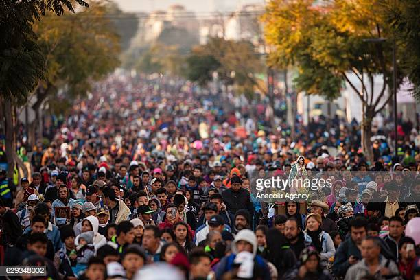 Pilgrims are seen during the pilgrimade to the Basilica of Guadalupe in the Day of the Virgin of Guadalupe in Mexico City Mexico on December 12 2016...