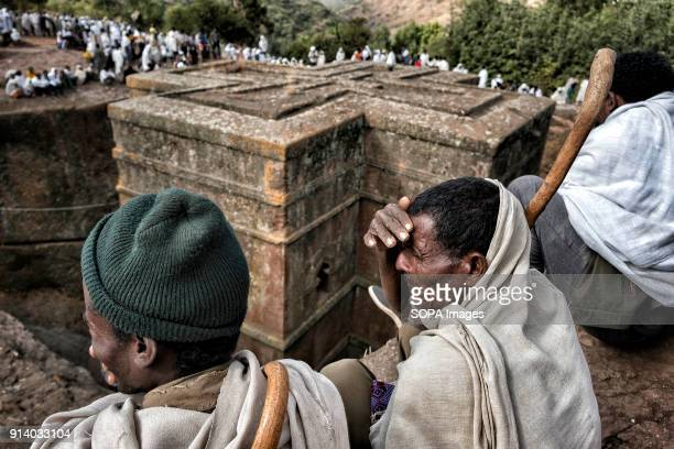 Pilgrims around the Biete Giyorgis in Lalibela During the first days of January thousands of Ethiopian Orthodox Christian pilgrims go to the city of...