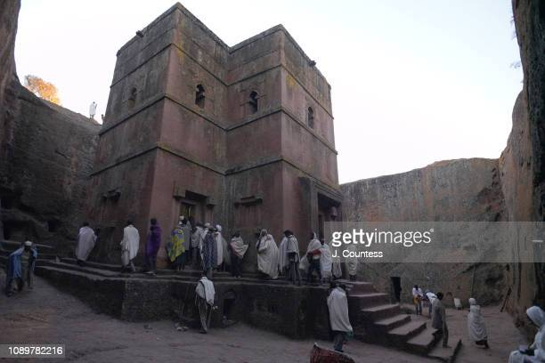 Pilgrims arrive at Bete Giyorgis Church at the start of morning mass following their pilgrimage to Lalibela for the January 7th Orthodox Christmas on...