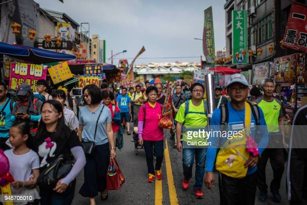 Pilgrims arrive in Dajia near Taichung as preparations get under way for the nine day Mazu pilgrimage on April 13 2018 in Taichung Taiwan The annual...
