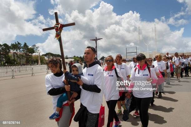 Pilgrims arrive to the Sanctuary of Fatima on May 11 2017 in Fatima Portugal Pope Francis will be attending the Sanctuary of Fatima in Portugal on...