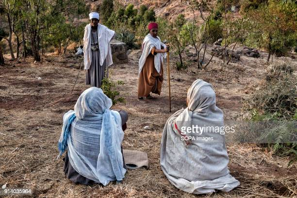 Pilgrims arriving to Lalibela after days walking During the first days of January thousands of Ethiopian Orthodox Christian pilgrims go to the city...