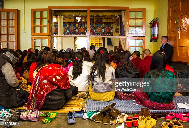 Pilgrims at a teaching of his Holiness the 14th Dalai Lama on November 20 2012 in Dharamsala Mcleod Ganj India The buddhistic event took place at the...
