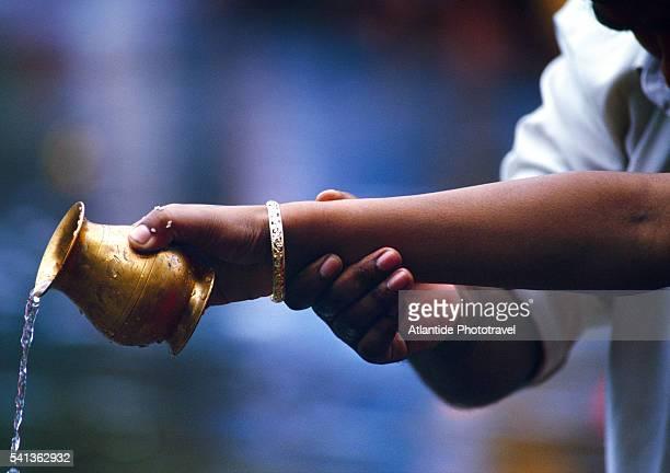 Pilgrims at Grand Bassin during Maha Shivaratri