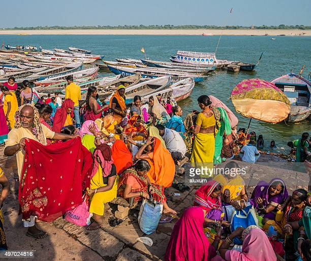 Pilgrims at the Ganges river Varanasi India