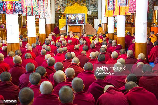Pilgrims attend a teaching by His Holiness the 14th Dalai Lama at the Main Tibetan Temple on November 20 2012 in Dharamsala Mcleod Ganj India The...