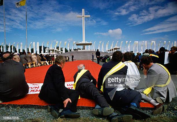 Pilgrims attend mass celebrated by Pope John Paul II during his visit to Ireland on September 29 1979 in Knock Ireland