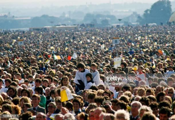 Pilgrims attend Mass during Pope John Paul II's visit to Ireland on September 29 1979 in Knock Ireland
