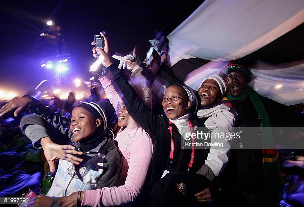 Pilgrims attend the evening vigil consisting of music and song a ceremony of candlelight and a representation of the 10 WYD08 patrons at Southern...