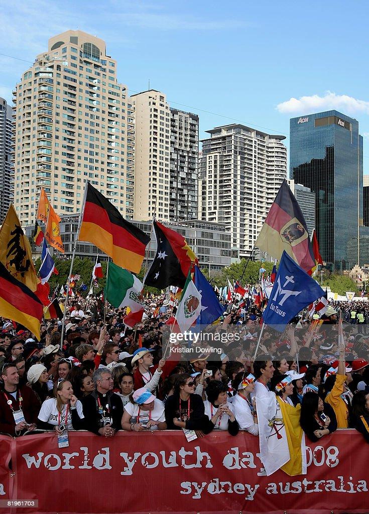 Pope Benedict XVI Addresses World Youth Day 08 Pilgrims : News Photo