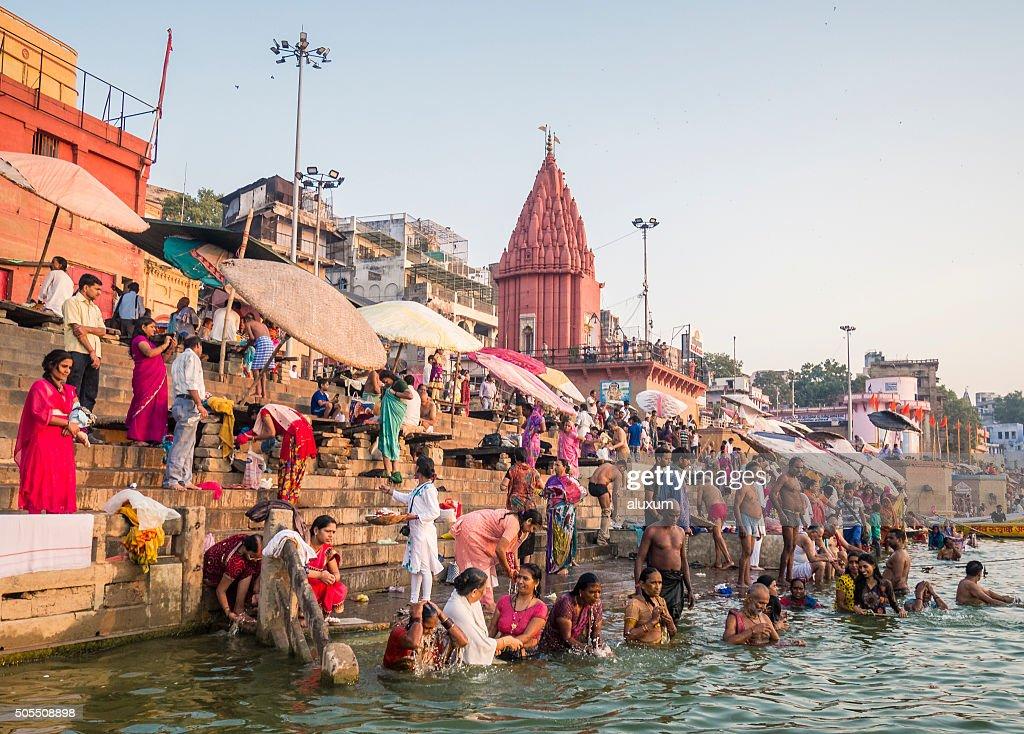 Pilgrims bathing in Dasaswamedh Ghat Varanasi : Stock Photo