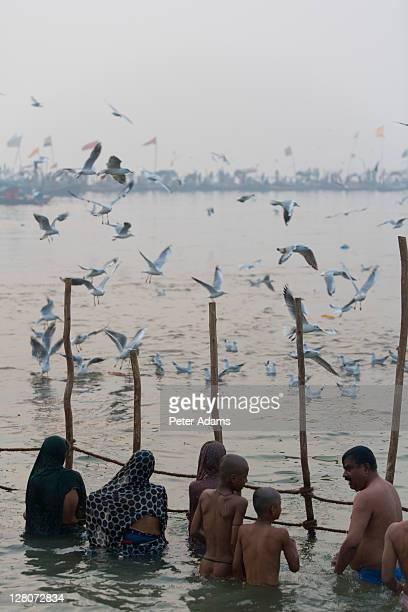 pilgrims bathing in ganges, kumbh mela, india - peter adams stock pictures, royalty-free photos & images
