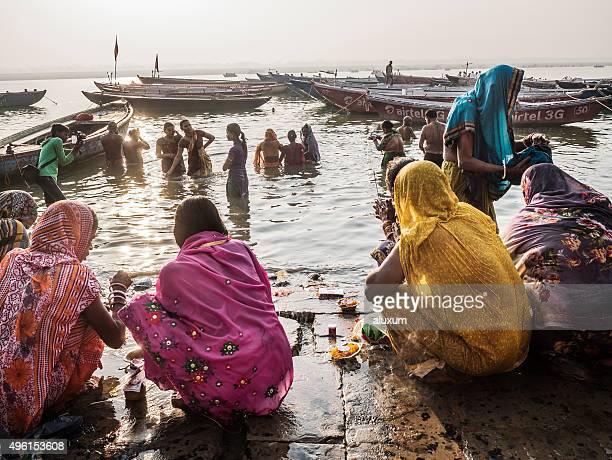 Pilgrims bathing in the Ganges in Varanasi India