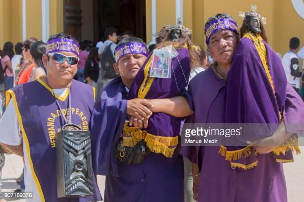 Pilgrims carry a Señor Cautivo de Ayabaca figures in front of the Trujillo Cathedral during Pope Francis 4day apostolic visit to Peru on January 19...