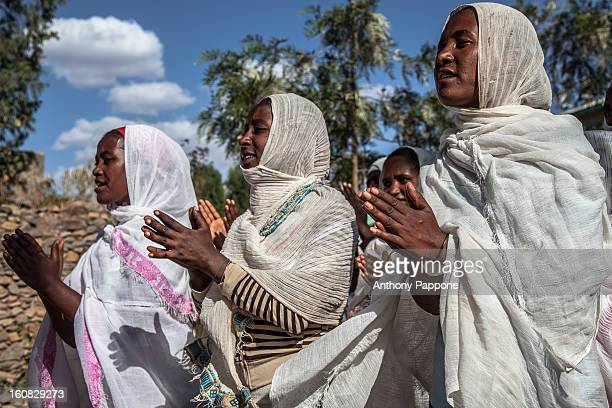Pilgrims celebrate the Hosanna festival in Aksum. It is celebrated before a week of Easter. It commemorates the triumphal entry of Jesus Christ with...
