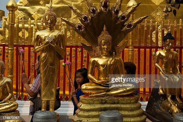 Pilgrims circumambulate the inner Chedi at Wat Phra That Doi Suthep bearing lotus blooms