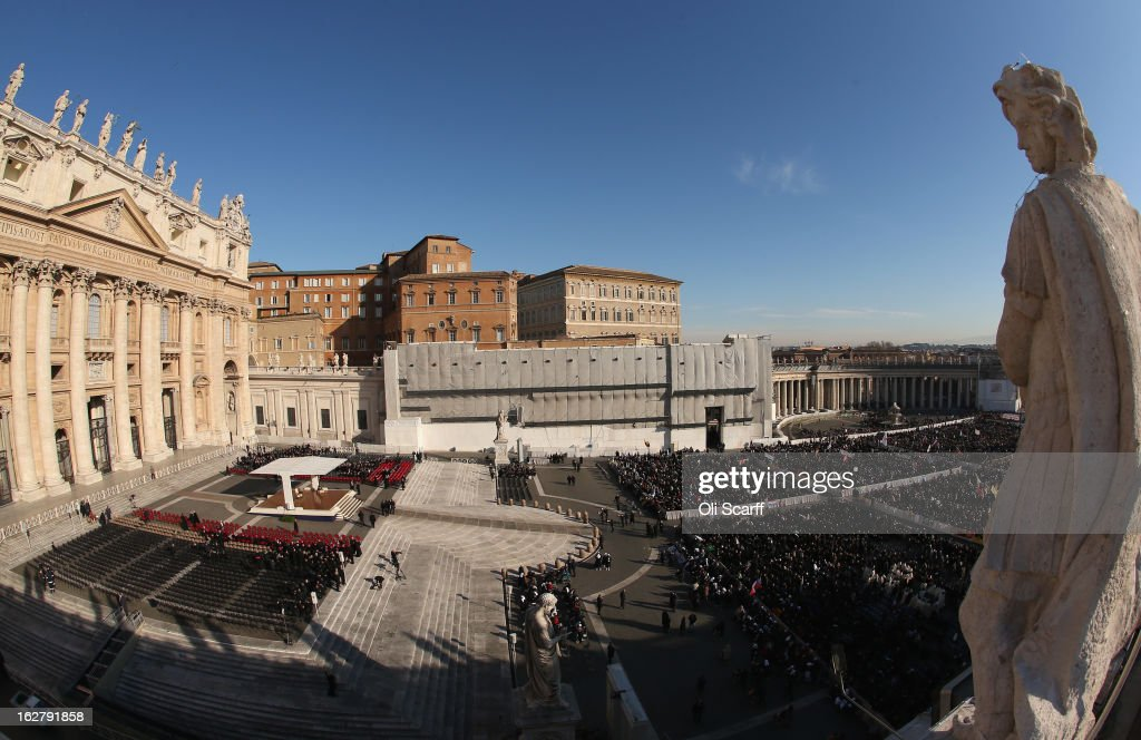 Pilgrims congregate in St Peter's Square before Pope Benedict XVI's final weekly public audience on February 27, 2013 in Vatican City, Vatican. The Pontiff has attended his last weekly public audience before stepping down tomorrow. Pope Benedict XVI has been the leader of the Catholic Church for eight years and is the first Pope to retire since 1415. He cites ailing health as his reason for retirement and will spend the rest of his life in solitude away from public engagements.