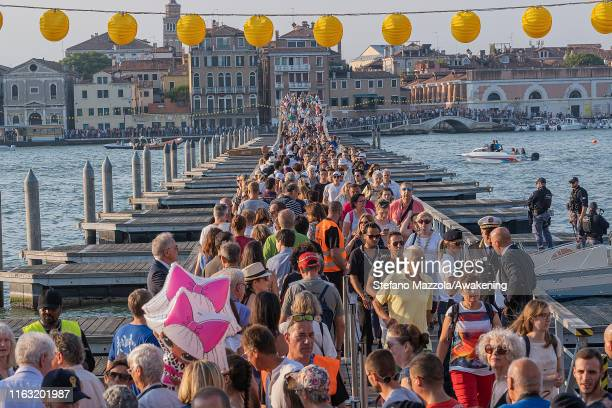 Pilgrims cross the votive bridge to the Redentore Church during the Redentore Celebrations on July 20 2019 in Venice Italy Redentore which is in...