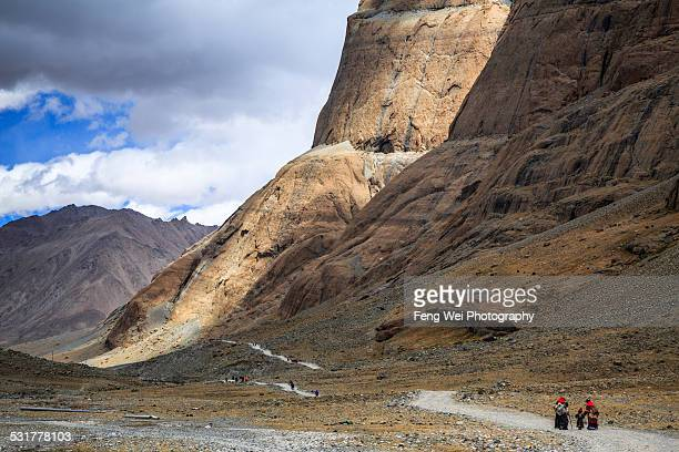 Pilgrims doing Kora around Mount Kailash in Tibet
