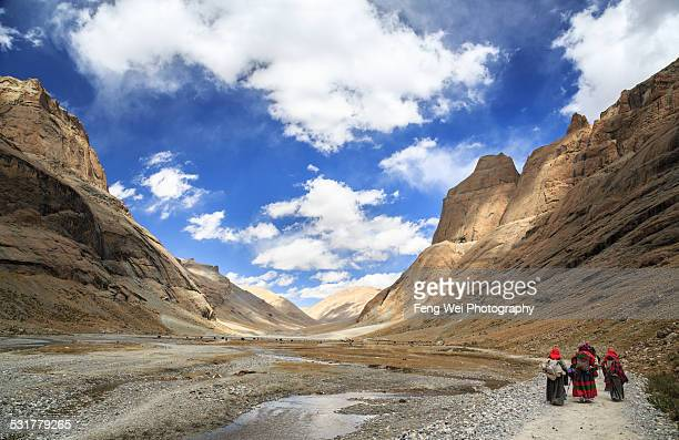 Pilgrims doing Kora around Mount Kailash in Tibet