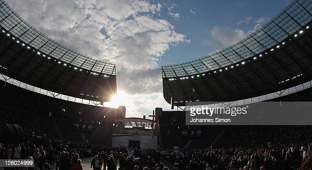 Pilgrims expect Pope Benedict XVI leading a Catholic mass for 70000 visitors at Olympiastadion stadium on September 22 2011 in Berlin Germany Pope...