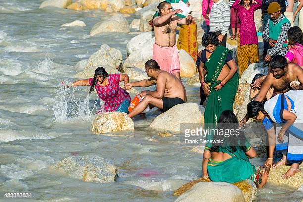 GANGOTRI UTTARAKHAND INDIA Pilgrims from all over India come to the banks of the river Ganges to have their holy dip into the water