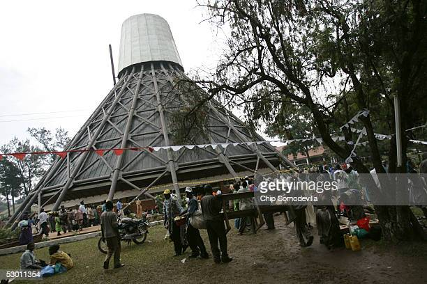 Pilgrims from Kenya Tanzania Sudan Rwanda and other African countries arrive at the Catholic Basilica Church of the Uganda Martyrs a day before the...