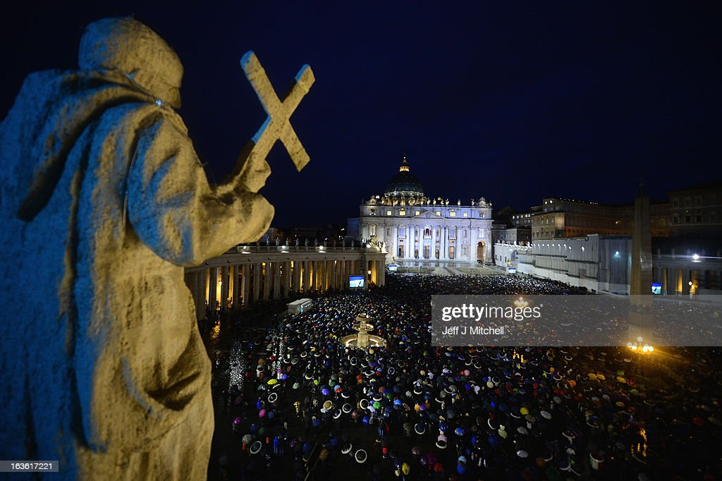 Pilgrims gather in St Peter's Square on day two of the conclave on March 13, 2013 in Vatican City, Vatican. Argentinian Cardinal Jorge Mario Bergoglio was later elected as the 266th Pontiff and will lead the world's 1.2 billion Catholics.