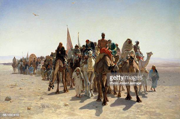 Pilgrims going to Mecca Caravan of travelers mounted on camels in the desert Painting by LeonAugusteAdolphe Belly 1861 16 x 24 m Orsay Museum Paris