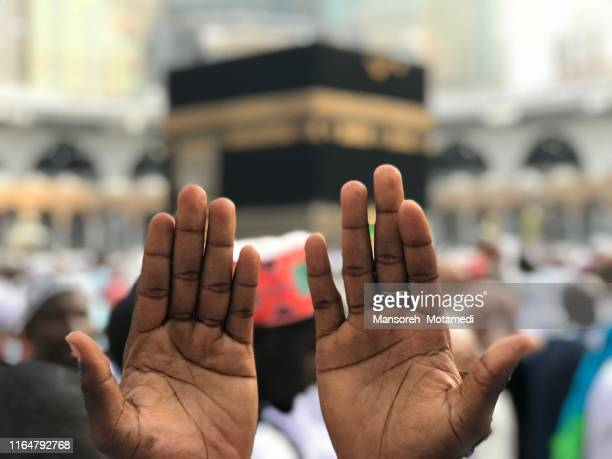 pilgrims in al-haram mosque: 2019-04-22 - pilgrimage stock pictures, royalty-free photos & images