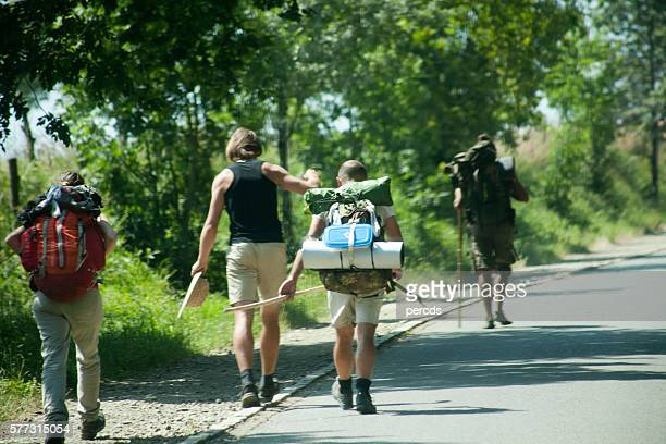 pilgrims in the 'camino de santiago'. - pilgrimage stock pictures, royalty-free photos & images