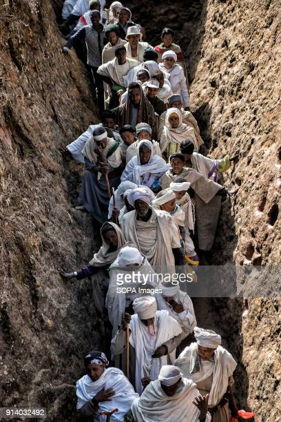 Pilgrims in the corridor leading to the Biete Giyorgis in Lalibela During the first days of January thousands of Ethiopian Orthodox Christian...