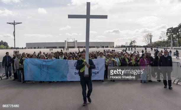 Pilgrims in the Sanctuary of Fatima on April 1 2017 in Fatima Portugal Thousands of pilgrims and worshippers visit daily the sanctuary and an...