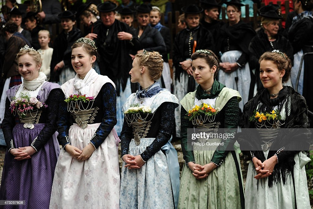 Pilgrims in traditional Bavarian folk dress attend the annual Ascension Mass (in German called Christi Himmelfahrt) at the open-air altar at Birkenstein on May 14, 2015 near Fischbachau, Germany. Several thousand pilgrims from 40 different folk group associations participated in the annual event to mark Jesus Christ's ascension to Heaven in a tradition going back centuries. Bavaria is predominantly Catholic.