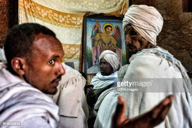 Pilgrims inside the Biete Giyorgis During the first days of January thousands of Ethiopian Orthodox Christian pilgrims go to the city of Lalibela to...