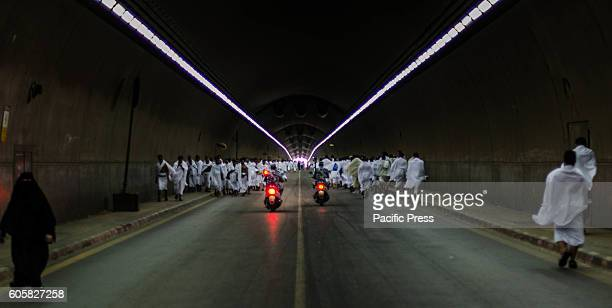 Pilgrims marching in one of the tunnels to perform the rituals of Hajj which extends to the days after the Eid alAdha in Saudi Arabia