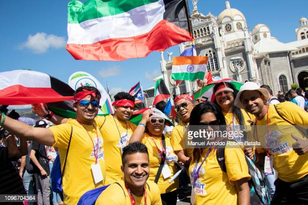 Pilgrims of Kuwait pose for photos during a pilgrimage from Basilica de Los Angeles to Panama for XXXIV World Youth Day on January 19 2019 in Cartago...