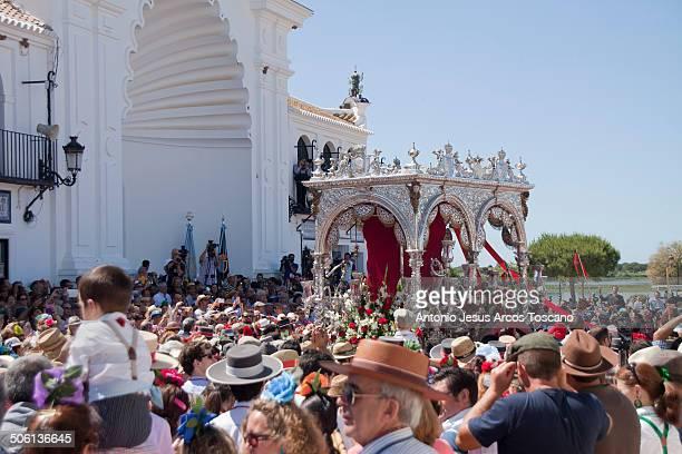 """Pilgrims of the Brotherhood of El Rocio from Villamanrique de la Condesa, accompanying their """"Simpecado"""" to make the presentation in the Chapel of..."""