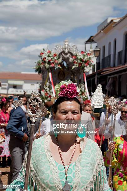 Pilgrims of the Brotherhood of El Rocío from Moguer, procession through the streets of the village, accompanying their Brotherhood, dressed in...