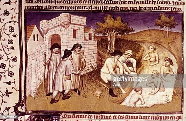 Pilgrims on the road to Saint Jacques de Compostelle illumination 15th century