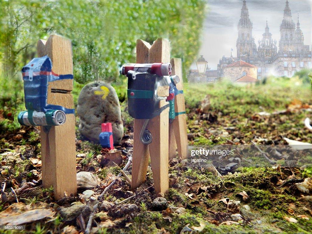 Pilgrims on the road to Santiago de Compostela : Stock Photo