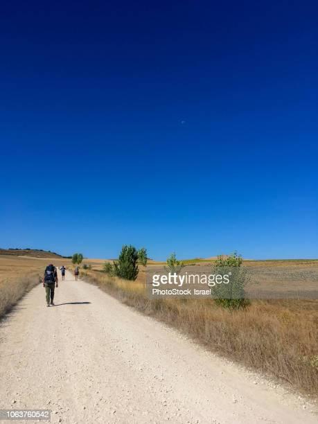 pilgrims path of camino de sandiago - cammino di santiago di compostella foto e immagini stock