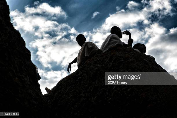 Pilgrims resting in Lalibela During the first days of January thousands of Ethiopian Orthodox Christian pilgrims go to the city of Lalibela to visit...