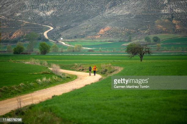 pilgrims. the way of st. james, burgos. spain - camino de santiago stock pictures, royalty-free photos & images