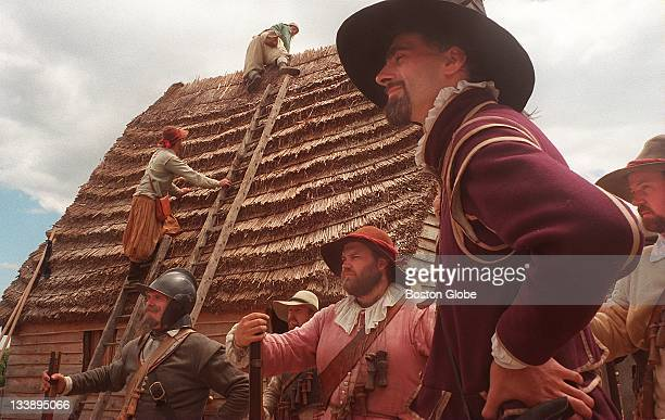 Pilgrims train during a fire drill at Plimoth Plantation during the annual colonial muster reenactment of the year 1627